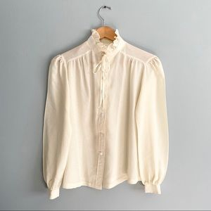 Vintage Beeline fashions blouse pussy bow ivory